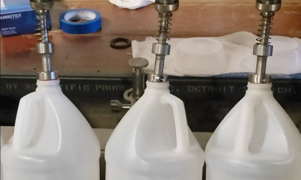 Hand sanitizer production line at Coppercraft Distillery in Holland, Michigan (Photo: Courtesy of Coppercraft Distillery)